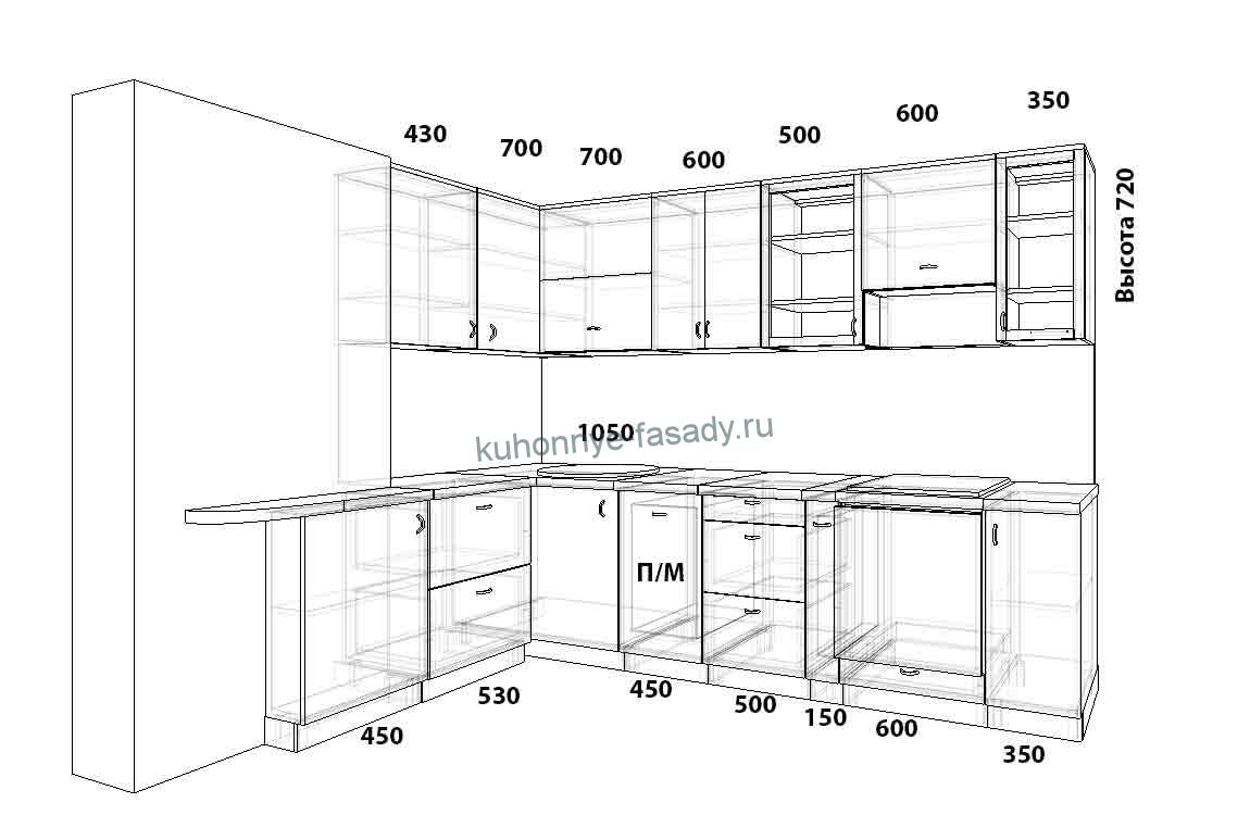 Кухня угловая 1580 на 3100 мм под заказ