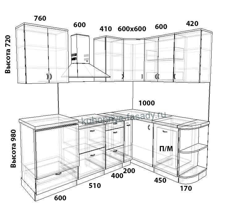 Кухня угловая на заказ размер 2370 на 1620 мм.