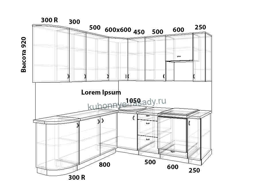 Угловая кухня размер 2400 на 1700 мм.